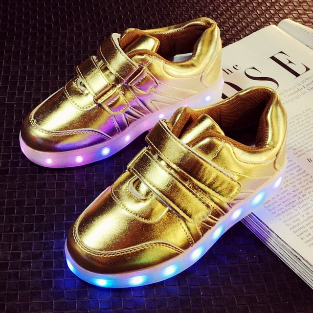 44279913b7d5 7 Color Led Shoes For Kids baby Sneakers Led Flash Children Breathable gold  Light Up Shoes With Usb Charging
