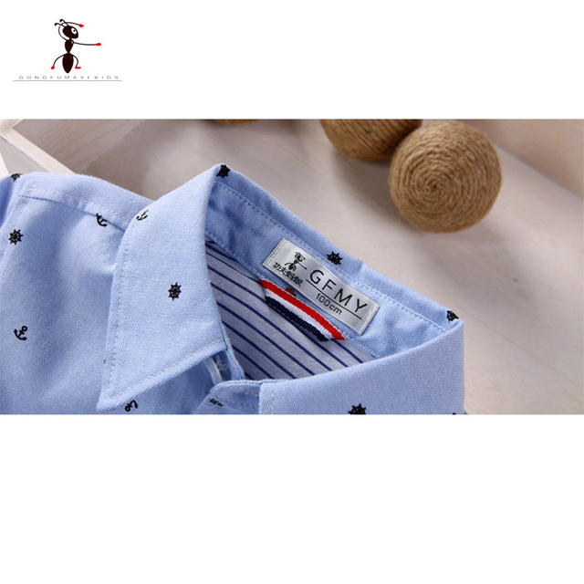Kung Fu Ant 2018 Brown Long Sleeve Shirt Spring Autumn Turn Down Collar Blouses Cotton Clothing for Kids 2384