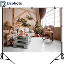 Dephoto Photography Backdrops Christmas Tree Light Bulb Decor Sofa Curtain Gift Child Photographic Backgrounds For Photo Studio