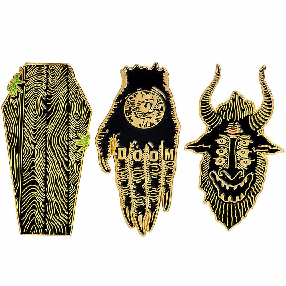 Gothic Dark Devil Skeleton Lung Hand Scorpion Brooch Enamel Pins Button Bag Denim Jacket Lapel Pin Badge Jewelry