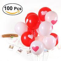 100 قطع جولة اللثي البالونات إقتراح الحب القلب مطبوعة 2.8 جرام بالون ل حفل زفاف الديكور (الأبيض مع الأحمر القلب)