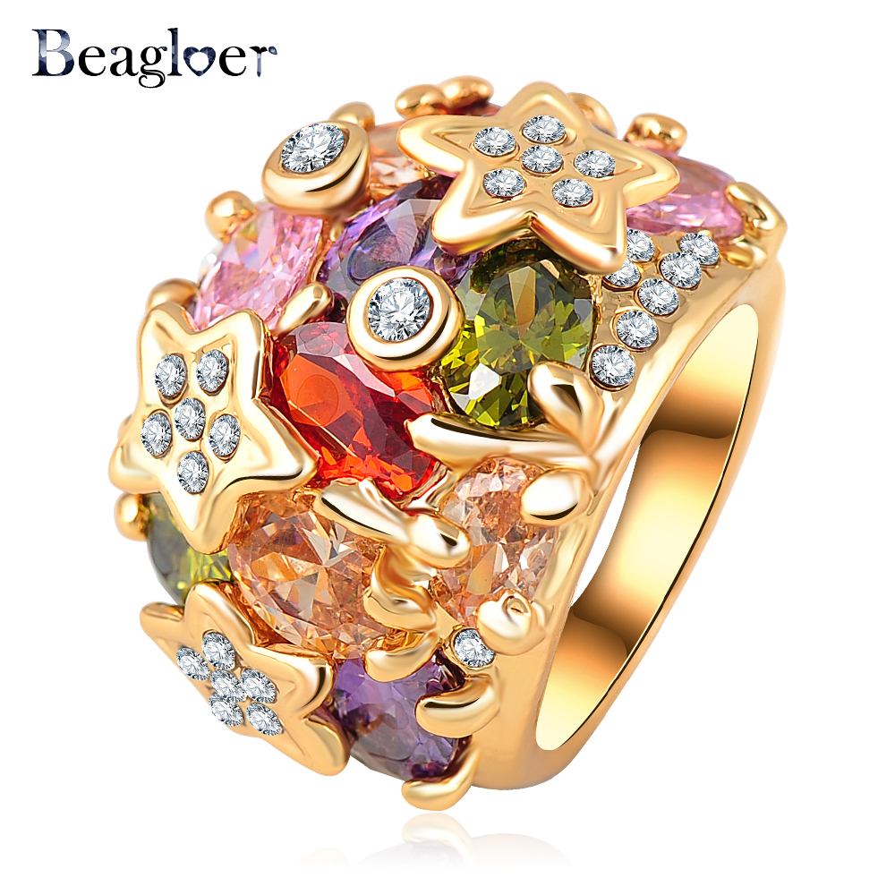 Female Enement Rings   Beagloer Brand Fashion Gold Color Colorful Austrian Crystal Element