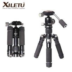 XILETU FM5C-MINI الألومنيوم مستقر سطح المنضدة ترايبود و الكرة رئيس ل كاميرا رقمية المرايا كاميرا هاتف ذكي