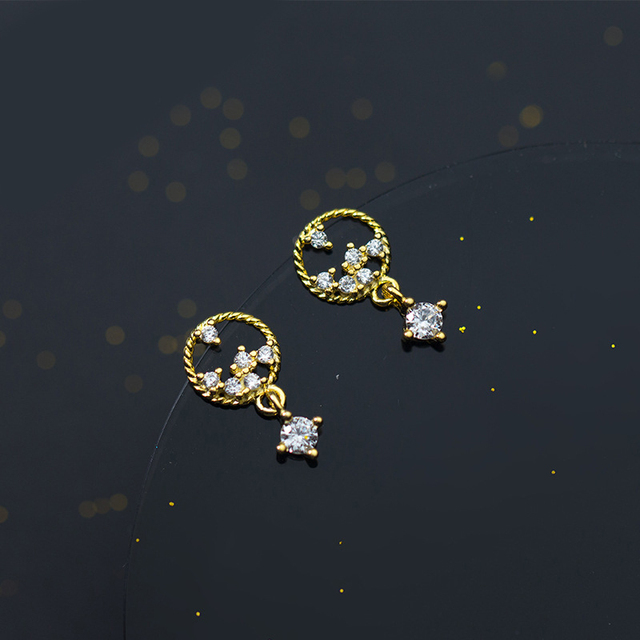 MloveAcc Original 925 Sterling Silver Gold Color Dazzling Flower Star Drop Earrings for Women High Quality Jewelry