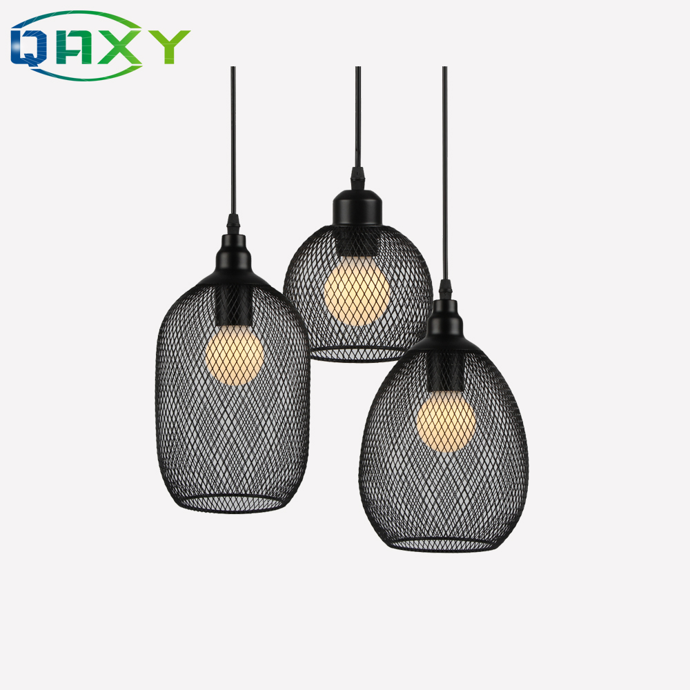 Retro Black Metal Bottle Lamp Bar Room Pendant Light E27 Netty Cage Droplight LED Pendant Light Fixtures For Dining Room Bar