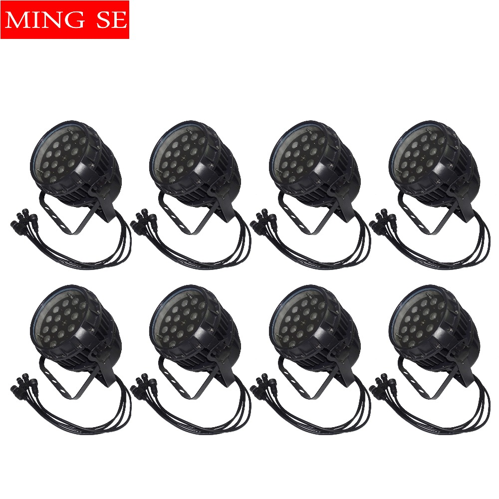 8Pcs/lots IP65 Waterproof 18*12w RGBW 4 in 1 Stage Lighting Par 64 Led Light Wedding Show Light Zoom Par Light