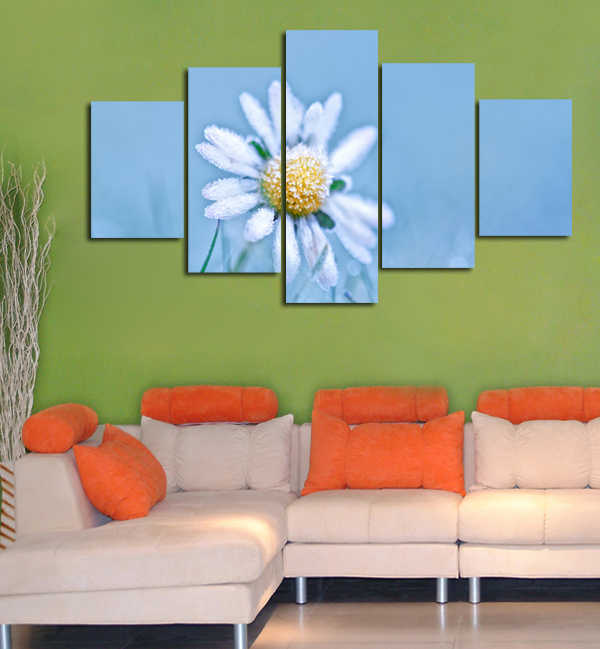 Frozen Wild Flower Unframed 5 Pieces/Set Modern Paintings Modular Posters Wall Art Pictures Canvas HD Printed Poster