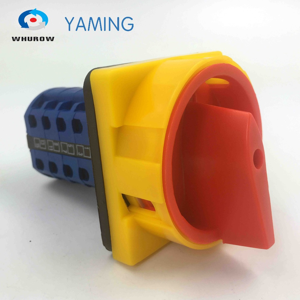 690V 20A Padlock Rotary Cam Switch OFF-ON 2 position 4 Poles 16 terminals main switch emergency stop YMW26-20/4GS load circuit breaker switch ac ui 660v ith 100a on off 3 poles 3 phases 3no 2 position universal rotary cam changeover switch