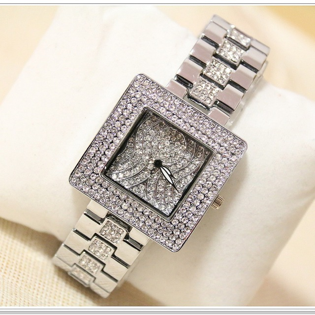 Hot Sale <font><b>BS</b></font> brand Crystal Square Wristwatch Bling Full Diamonds Bling Bangle <font><b>Watch</b></font> Lady Luxury Dress Jewelry <font><b>Watch</b></font> Rhinestone image