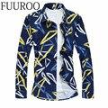 Мужчины Рубашка 2016 С Длинным Рукавом Цветочный Печати Рубашка Мода Slim Fit Рубашки Марка Camisa Masculina CBJ-J6503
