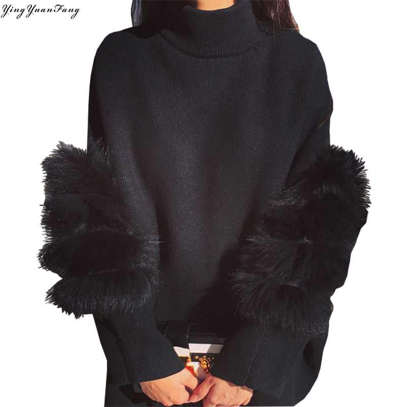 YingYuanFang nueva moda coreana suelta costura gruesa piel caliente manga fijar dos mujeres
