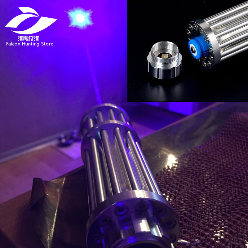 Tactical caza de alta potencia 5000000 M punteros láser azul 450nm Laser Scope Sight linterna quema partido/quemar cigarros ligeros /ca