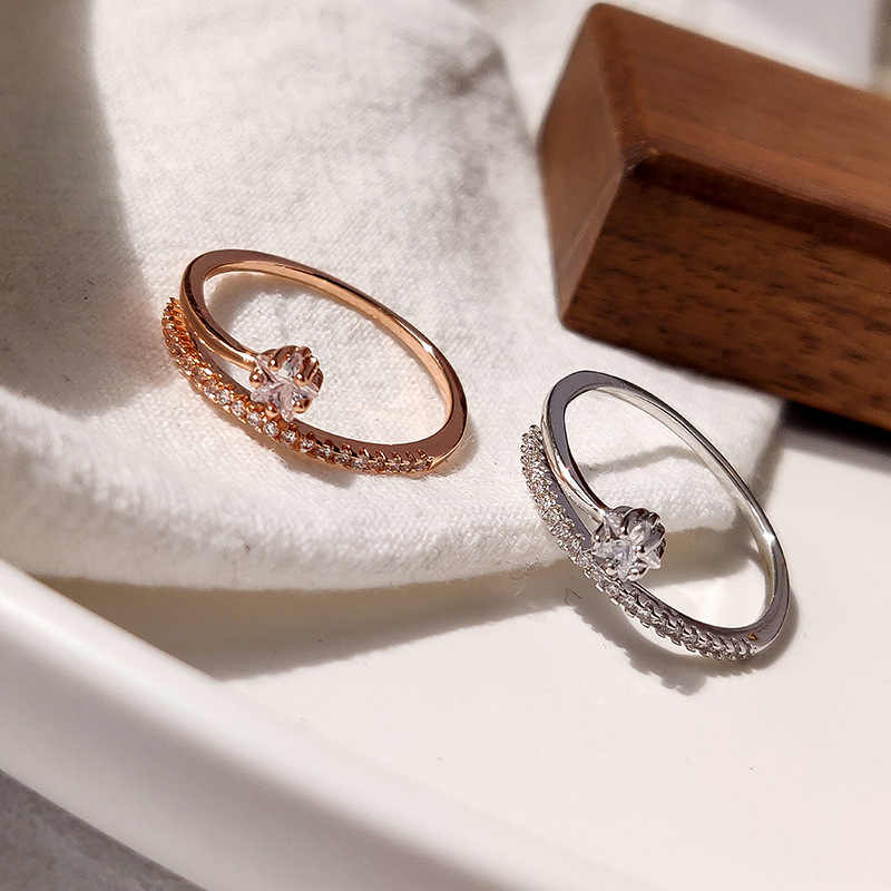 פתוח עלה זהב 1PC 2020 חדש הגעה הכלה מסיבת כסף באיכות גבוהה מתכוונן זוגות טבעת בנות קריסטל מתנות חינני כוכב
