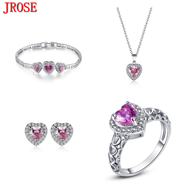 JROSE Party Heart Cut Pink & White CZ 18kt White Gold Plated Jewelry Sets Ring Size 7 Pendant Earrings Bracelets Fashion Gift