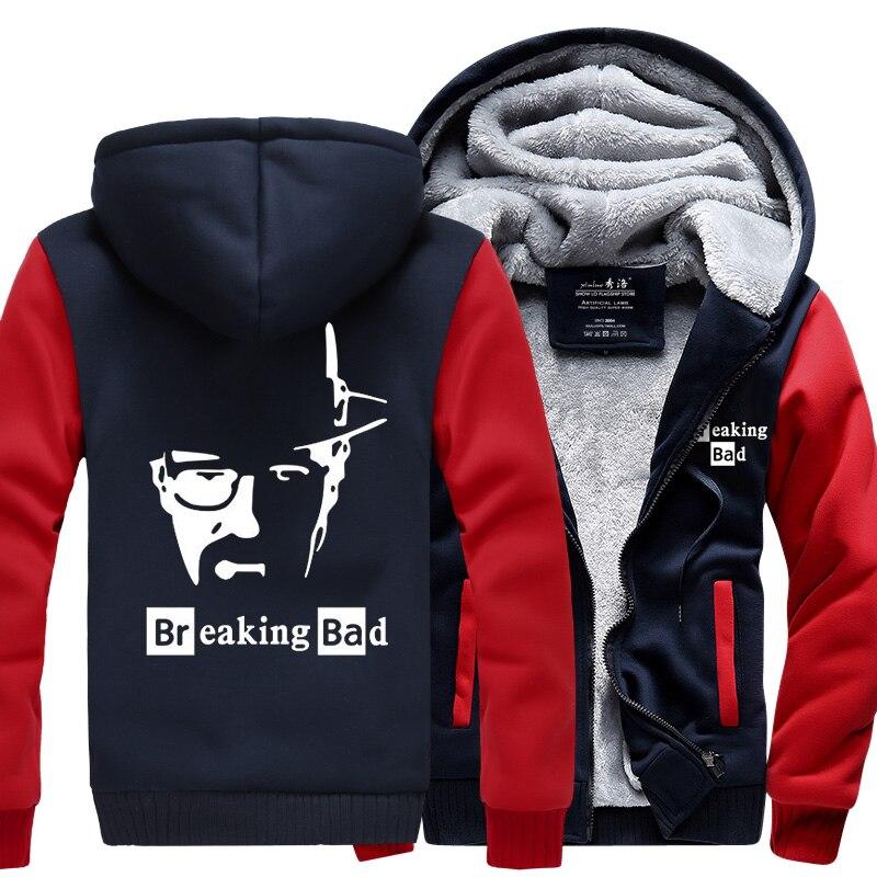 hot sale Breaking Bad Men Sweatshirts new winter warm fleece thicken Heisenberg hoodies men 2019 casual jacket M-4XL Zipper coat