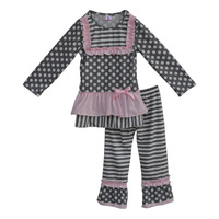 Spring Cotton Little Girls Boutique Clothing Grey Polka Dots Kids Outfits Ruffle Top And Pant Children