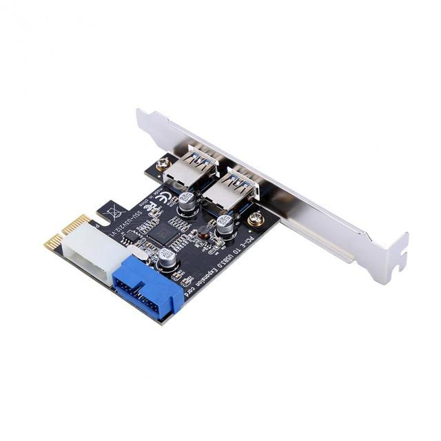جديد USB 3.0 PCI E بطاقة التوسع محول خارجي 2 ميناء USB3.0 Hub الداخلية 19pin رأس PCI E بطاقة 4pin IDE موصل الطاقة