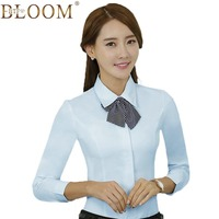 BTF BLOOM Fashion Long Sleeve Women Blouse Elegant Formal Blue Tie Slim Shirt Office Ladies