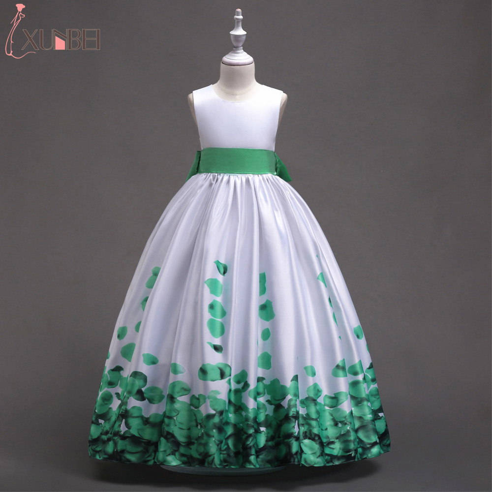 Simple Leaf Floor Length Satin Flower Girl Dresses 2018 With Sash Communion Dresses For Girls Kids Prom Dresses vestido daminha