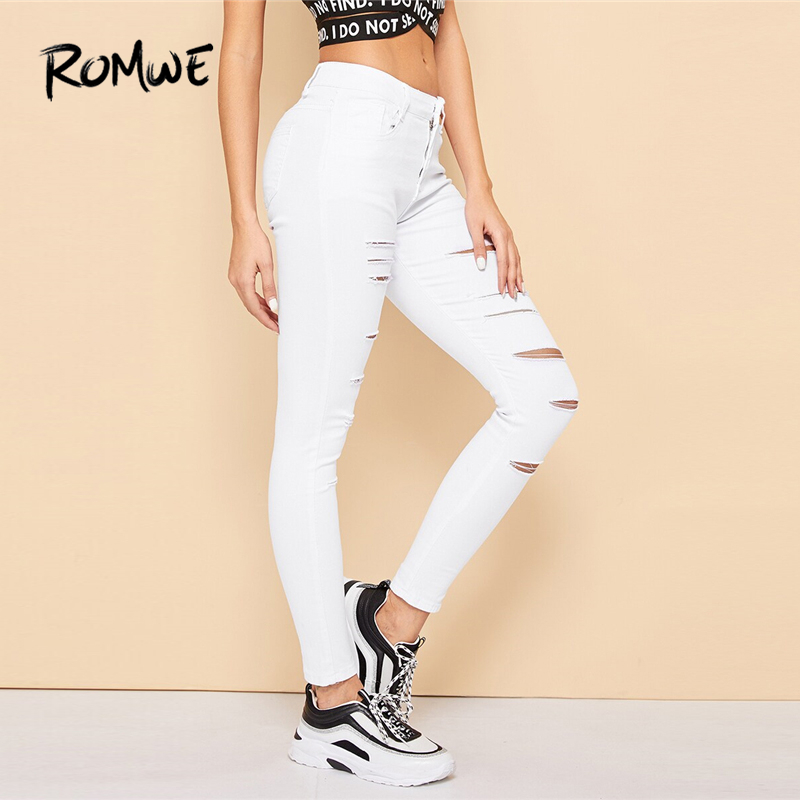 ROMWE White Solid Ladder Distressed Denim   Jeans   Women Summer Mid Waist Skinny Ripped Crop Tapered Carrot Casual Pants Trousers