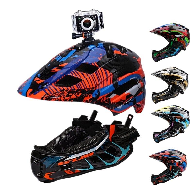 GUB caméra Installable enfants casque de cyclisme enfants casque de vélo plein visage avec LED feu arrière casque de vélo pour Casco Scooter BMX