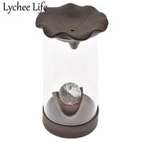 Glass Incense Burner Shape Model Ceramic Circle Miniature Figurines Gift Modern Religious Table Home Decor Craft