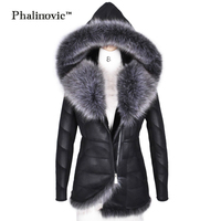 Phalinovic 2017 Winter Women Fur Leather Coat Warmer Excellent Quality Thick Fur Jacket Outdoor Woman Parkas