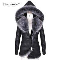 Phalinovic 2017 зима для женщин искусственный мех кожаные пальто Теплые отличное качество Толстая Меховая куртка женские парки Плюс размеры 5xl 6xl