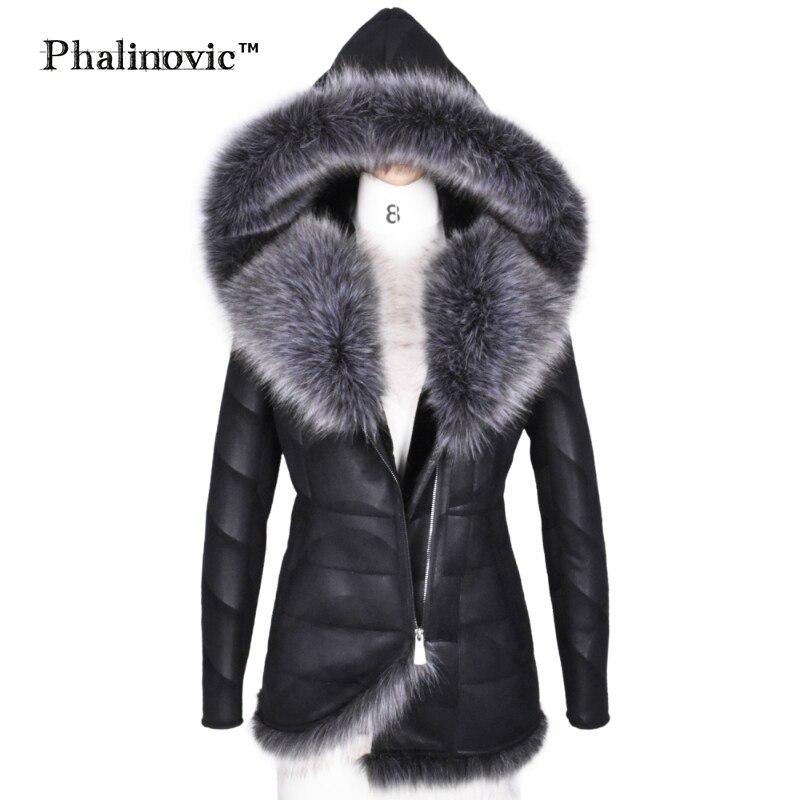 Phalinovic 2017 Winter Women Faux Fur   Leather   Coat Warmer Excellent Quality Thick Fur Jacket Woman Parkas Plus Size 5xl 6xl