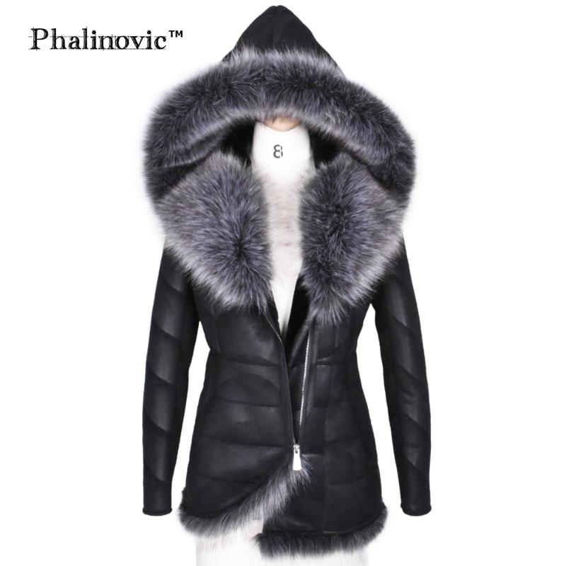 Phalinovic 2019 de las mujeres de invierno de piel de imitación de cuero de abrigo cálido excelente calidad gruesa chaqueta de piel de mujer Parkas Plus tamaño 5xl 6xl
