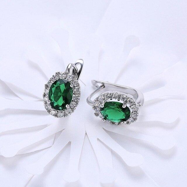 Купить роскошные женские серьги гвоздики с пряжкой из белого и зеленого