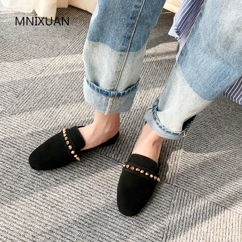 MNIXUAN Europe style csaual women shoes pump low heel 2019 new arrival mules sheep suede round toe square heel rivets size 41 42MNIXUAN Europe style csaual women shoes pump low heel 2019 new arrival mules sheep suede round toe square heel rivets size 41 42