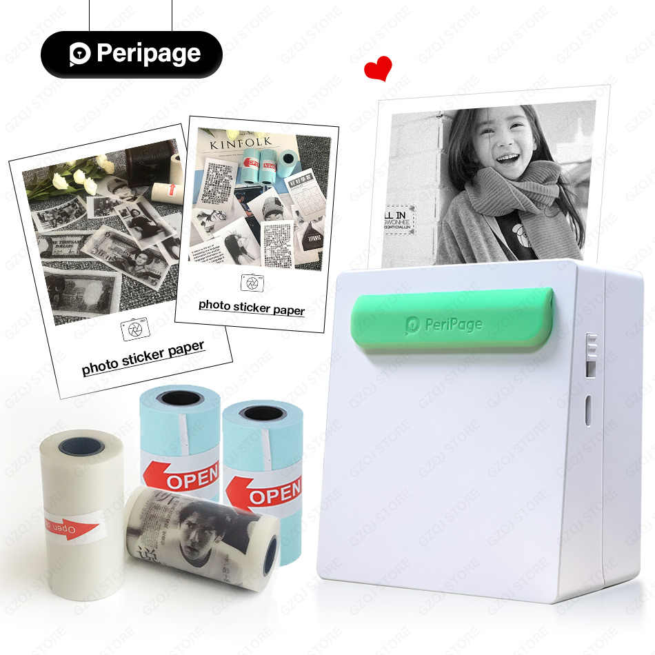 203dpi Portable Bluetooth Printer Photo Printer Mini Printer Portable Pictures Printer for Mobile Phone Android iOS Windows