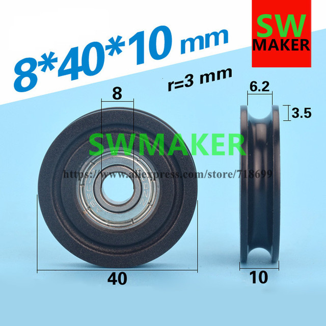 8*40*10 plastic bag U shaped groove bearing pulley with 608 bearing ...