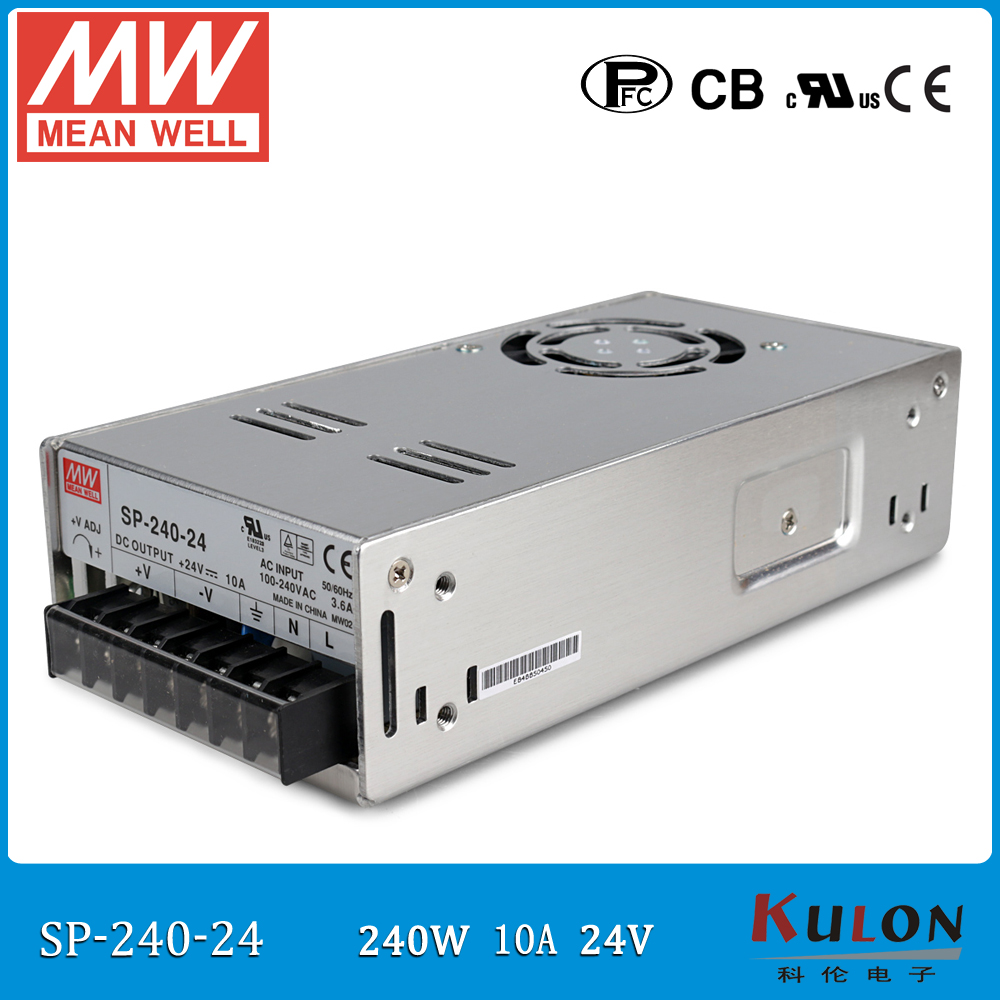 Original MEAN WELL SP-240-24 240W 10A 24V Meanwell Power Supply 110V/220V AC to 24V DC with PFC function PF>0.95 meanwell 24v 60w ul certificated lpv series ip67 waterproof power supply 90 264v ac to 24v dc