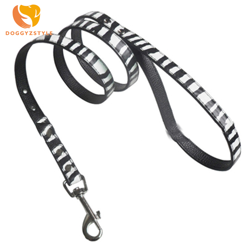 DOGGYZSTYLE PU Leather Dog Collar and Leash Puppy Collars & Belt For Small Breeds Chihuahua Yorkie S M L zebra-stripe