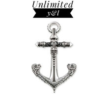 Skull Ship Anchor Pendant Punk Black Zirconia Skeleton 925 Sterling Silver Jewelry Accessories Fit Chain Necklace Women Men