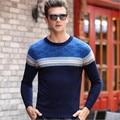 2016 Outono Inverno O-pescoço camisola Suéter de lã engrossar quente pullover camisola dos homens camisola dos homens de negócios de moda