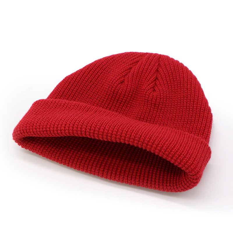 df7df263b5cac ... Men Knitted Hat Beanie Skullcap Sailor Cap Cuff Brimless Retro Navy  Style Beanie Hat TT  ...