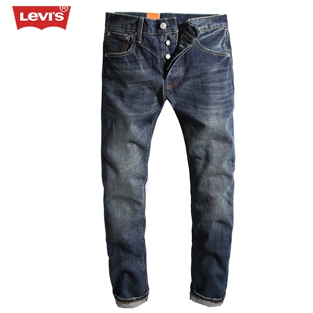 Levi's Fashion Men's Breathable Vintage Denim Jeans Pleated Straight Washed Full Length Trousers Men Women Casual Long Pants 115 women girls casual vintage wash straight leg denim overall suspender jean trousers pants dark blue