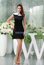 цена на free shipping modest 2013 design hot sale cap sleeve sheer dress custom size plus size gown short sweet black Graduation Dress