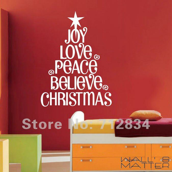 BZD Free Shipping WALLS MATTER Christmas Decor Joy Love PeaceChristmas Wall Stickers Quote Decals 60x75cm In From Home Garden
