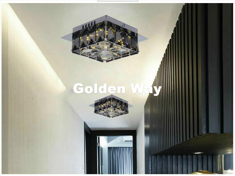 Modern Smokey W19cm LED 12W Crystal Ceiling Lamp living Room Lamp LED Ceiling Bedroom Restaurant Corridor lighting AC110-240V vemma acrylic minimalist modern led ceiling lamps kitchen bathroom bedroom balcony corridor lamp lighting study