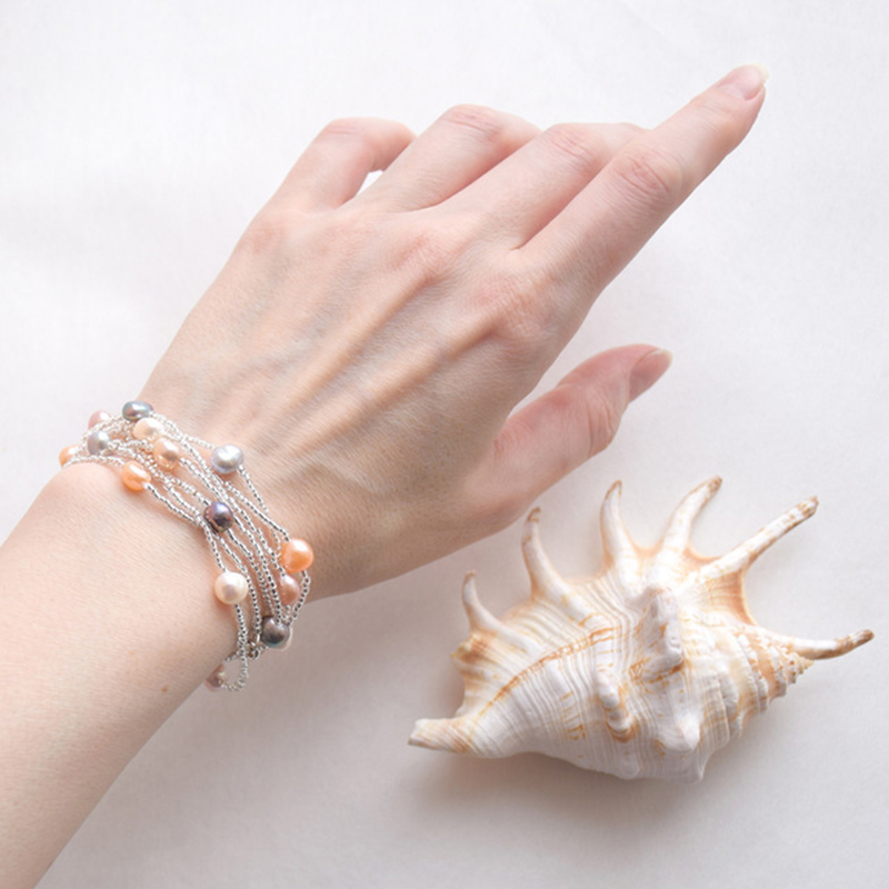 ASHIQI Natürliche Süßwasser Barock Perlenkette Für Frauen 120 cm - Edlen Schmuck - Foto 6