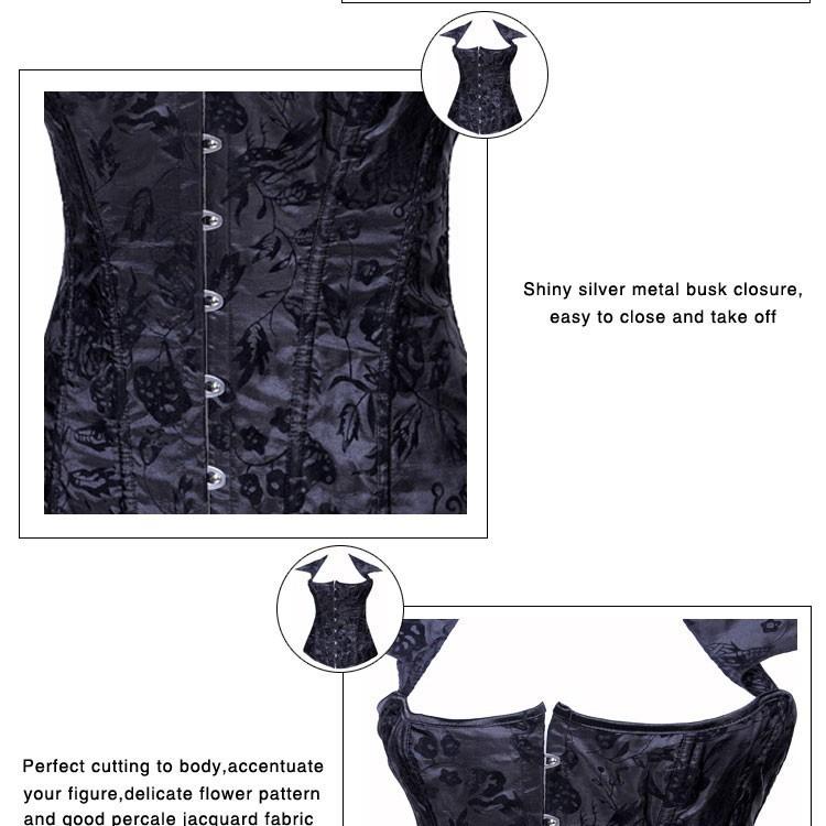 сексуальное черный парчи без бретелек шаблон корсеты - 2792