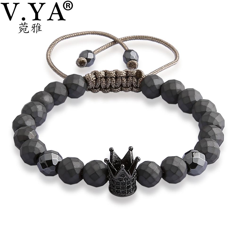 V YA Crown Bracelets for Men Women Luxury Jewelry Fashion Men's Watch Bracelet Natural Stone Bead Lace up Bangle