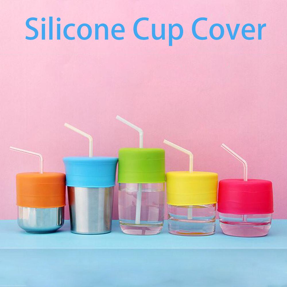 Silicone Baby Sippy Cup Lid Straw Spill-Proof Cover Home Water Bottle 5 Colors