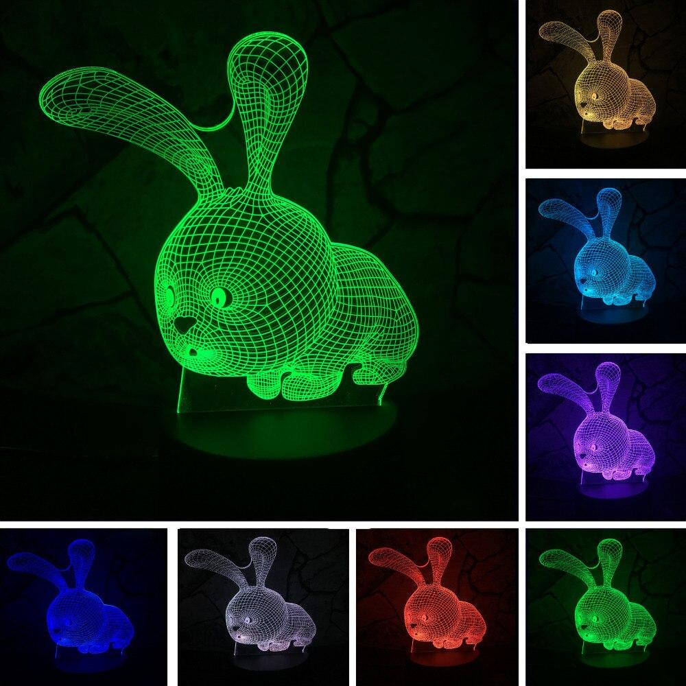 Lovely Cartoon Rabbit 3D LED Night Light 7 Color Change Table Desk Lamp Home Child Bedroom Decor Kid Birthday Xmas New Year Gift