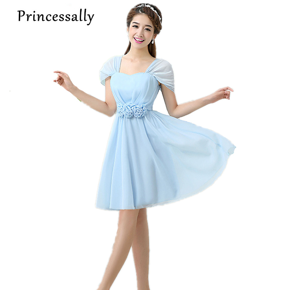 Online buy wholesale cheap wedding dresses under 30 from china wholesale cheap bridesmaid dress under 30 chiffon sky blue gowns for bridesmaids with short sleeve cute ombrellifo Gallery