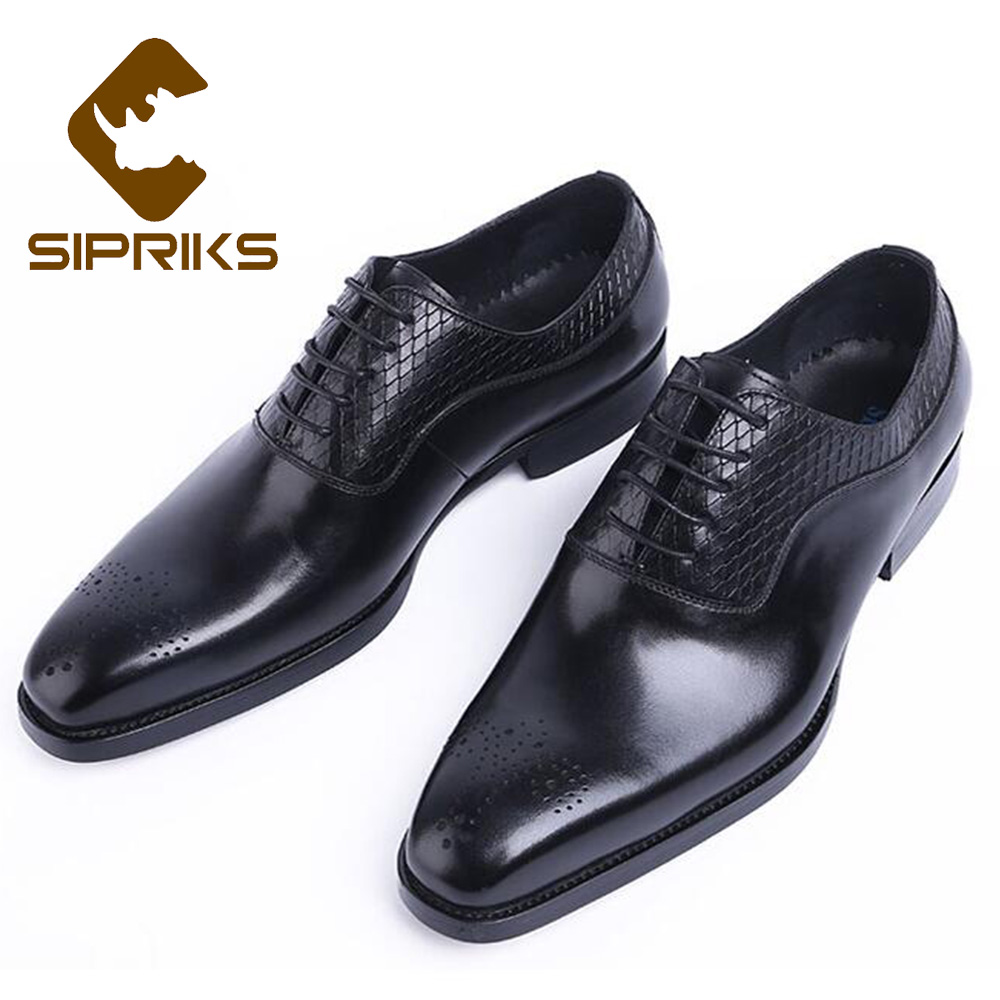 SIPRIKS Genuine Leather Men Dress Shoes Italian Handmade Lace Up Black Brown Oxfords Business Office Brogue Shoes Square Toe 44 men luxury crocodile style genuine leather shoes casual business office wedding dress point toe handmade brogue footwear oxfords page 5 page 5 page 2 page 1